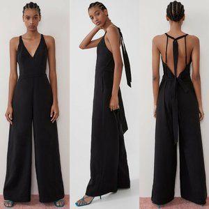 Zara Long V-Neck Halter Flowy Jumpsuit